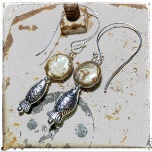 OneHealingStone Jewelry - 🌺OOAK Pearl Coin/Sterling Earwires by Susan A Ray